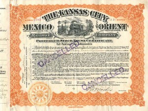 Kansas City, Mexico & Orient Railway Company signed by Lady Mary Inverclyde - SOLD