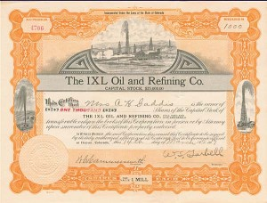 Ixl Oil & Refining Co. - Stock Certificate