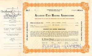 Atlantic City Racing Association signed by John B. Kelly, Sr.