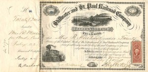 Stillwater and St. Paul Railroad Company signed by Jay Cooke, Jr.