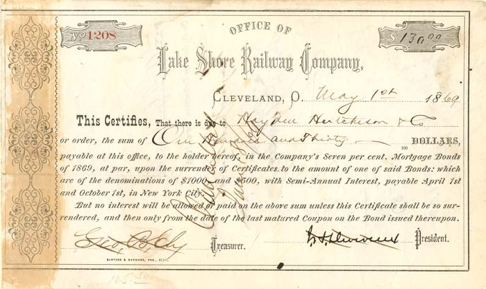 Lake Shore Railway Company signed by John Devereux