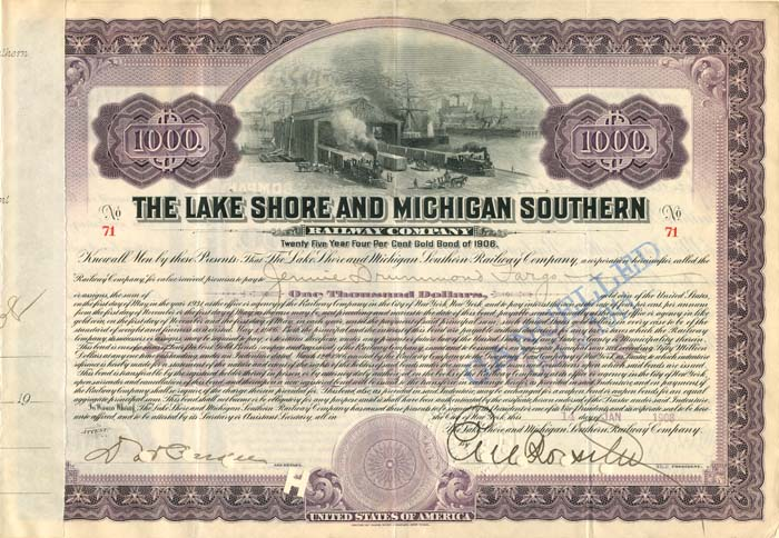 Lake Shore and Michigan Southern Railway Company signed by Jennie Drummond Fargo