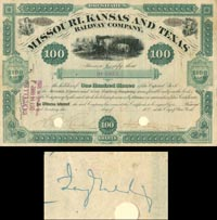 Missouri, Kansas and Texas Railway Company Issued to and Signed by Jay Gould