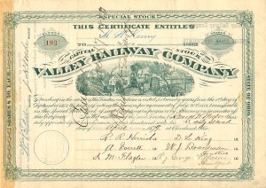 Valley Railroad Company signed by Jeptha H. Wade
