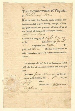 James Monroe signed Document - Rare Document Variety