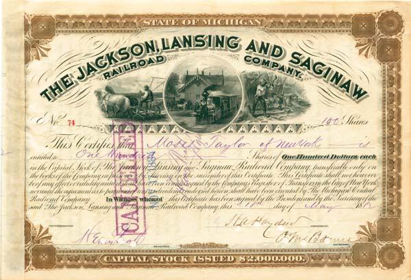 Jackson Lansing & Saginaw RR Stock issued to Moses Taylor & signed by Cornelius Vanderbilt Jr.
