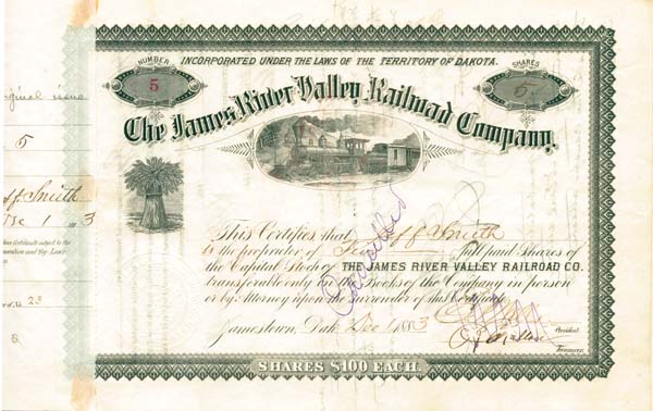 James River Valley Railroad Company - Stock Certificate