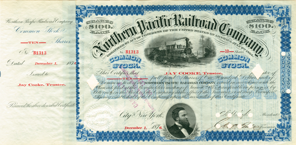 Northern Pacific Railroad Company signed by Jay Cooke - Stock Certificate
