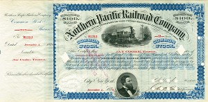 Northern Pacific Railroad Co signed by Jay Cooke - Stock Certificate
