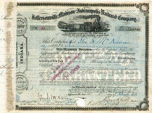 Jeffersonville, Madison & Indianapolis Railroad signed by Thomas A. Scott - Stock Certificate
