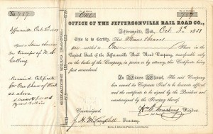 Office of the Jeffersonville Rail Road Co. - SOLD