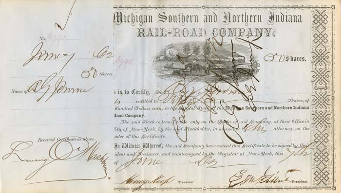 Addison G. Jerome & Henry Keep sign Michigan Southern and Northern Indiana Railroad Company