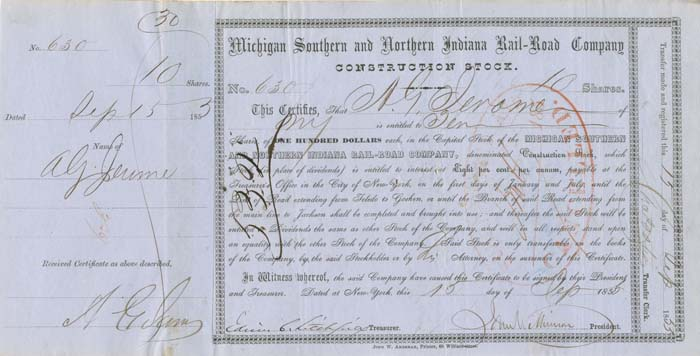 Addison G. Jerome signed Michigan Southern and Northern Indiana Rail-Road Company