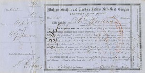 A.G. Jerome signed Michigan Southern and Northern Indiana Rail-Road Company