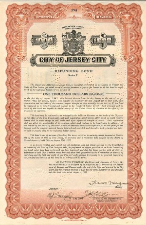 City of Jersey City signed by Frank Hague - $1,000 - Bond - SOLD
