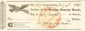 James Fenimore Cooper signed check