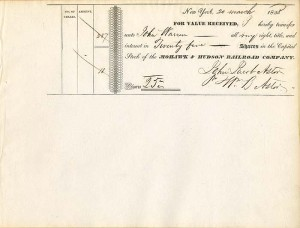 Mohawk & Hudson Railroad Company signed by Wm. B. Astor for J.J. Astor