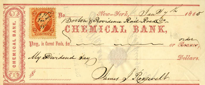 Chemical Bank Check Signed by James J. Roosevelt - Grandfather of Theodore Roosevelt- SOLD