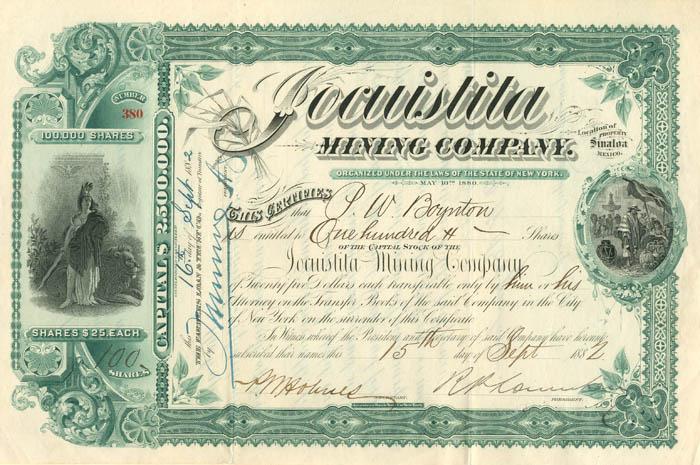 Jocuistita Mining Company - Stock Certificate