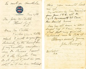 John Burroughs 8 page letter in another hand but autographed by John Burroughs