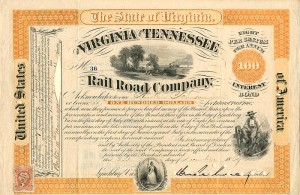 Wm. Mahone signed Virginia and Tennessee Railroad Company - made out to Andrew Johnson