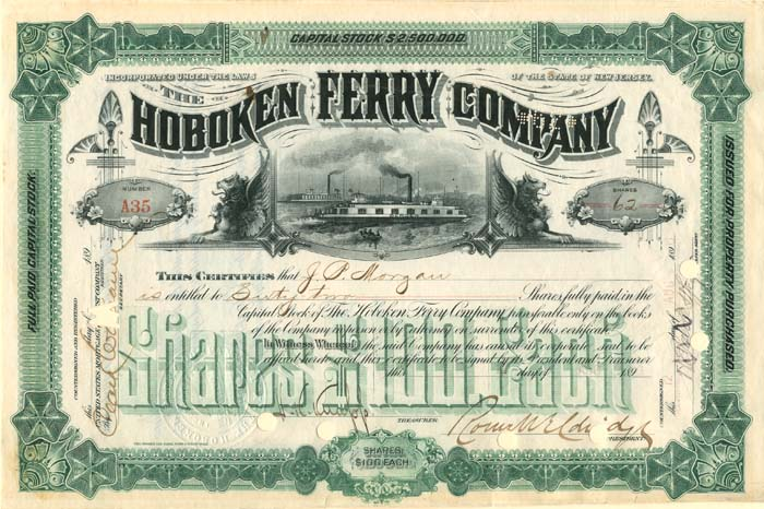 Hoboken Ferry Company Issued to J.P. Morgan