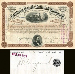 Northern Pacific Railroad Company with attached document signed by J.P. Morgan Jr.