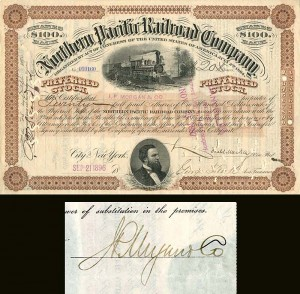 Northern Pacific Railroad Company signed by J.P. Morgan Jr. - SOLD