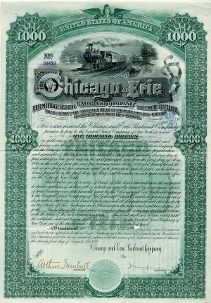 Chicago and Erie Railroad Company signed by J.P. Morgan, Jr.