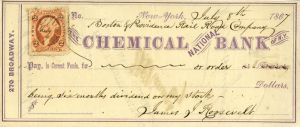 Chemical National Bank Check Signed by James J. Roosevelt - Grandfather of Theodore Roosevelt - SOLD