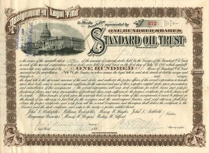 Standard Oil Trust signed by J.S. Bache, Archbold, and Tilford