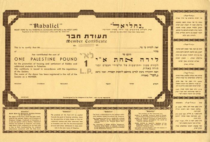 """Judaica Palestine Old Builder Member """"Nahaliel"""" Fund"""