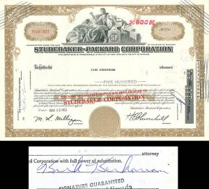Studebaker-Packard Corporation signed by Kirk Kerkorian - SOLD