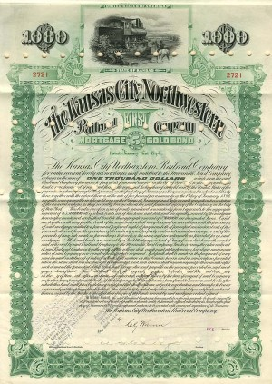 Kansas City Northwestern Railroad Company - $1,000 Bond