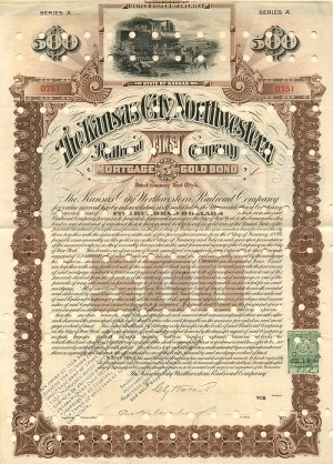 Kansas City Northwestern Railroad Company - $500 Bond - SOLD
