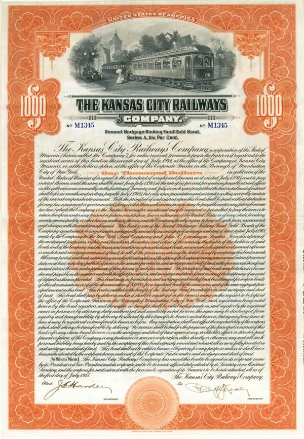 Kansas City Railways - Bond - SOLD