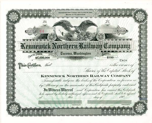 Kennewick Northern Railway Company - Stock Certificate