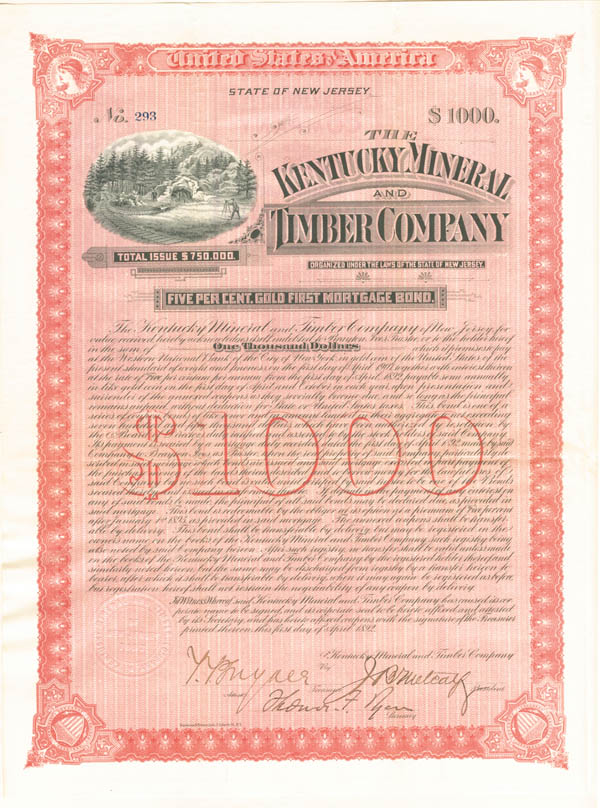 Kentucky Mineral and Timber Company $1,000 Uncanceled Gold Bond signed by Brayton Ives and Thomas Fortune Ryan