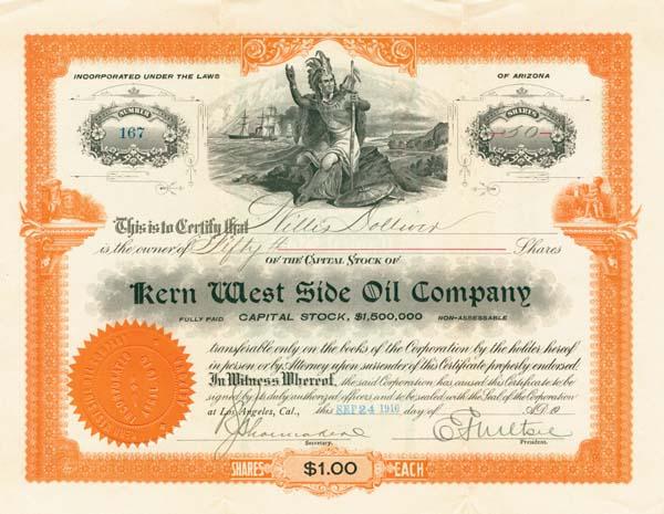 Kern West Side Oil Company - Stock Certificate - SOLD