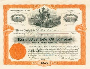 Kern West Side Oil Company - Stock Certificate - SOLD