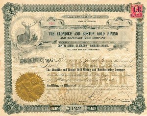 Klondike & Boston Gold Mining & Manufacturing Company - Stock Certificate - SOLD