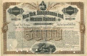 New York, Susquehanna and Western Rairoad Company Bond Issued to Charles L. Tiffany and Signed by Lewis C. Tiffany of Tiffany & Company Fame