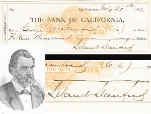 Leland Stanford Check - SOLD