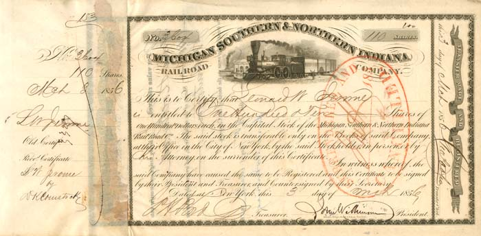 Michigan Southern & Northern Indiana Railroad Company signed by Leonard W. Jerome - Stock Certificate