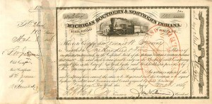 Michigan Southern & Northern Indiana Railroad Company signed by Leonard W. Jerome