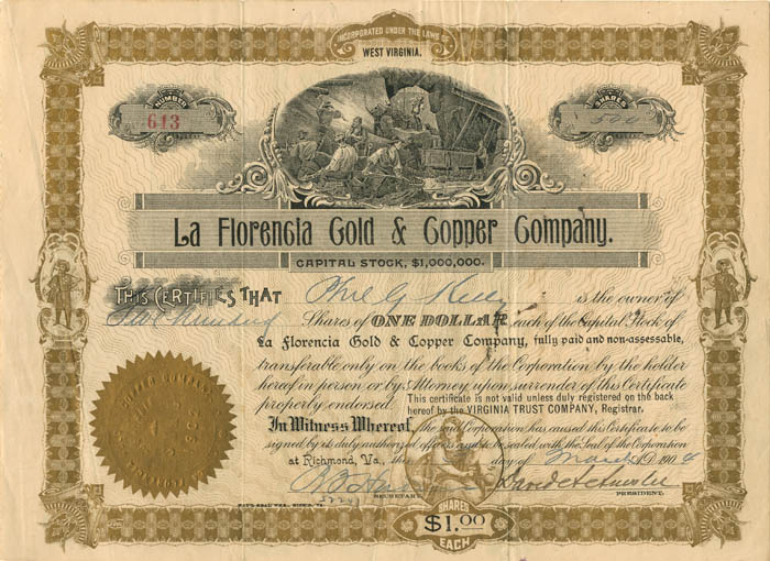 La Florencia Gold and Copper Company - Stock Certificate