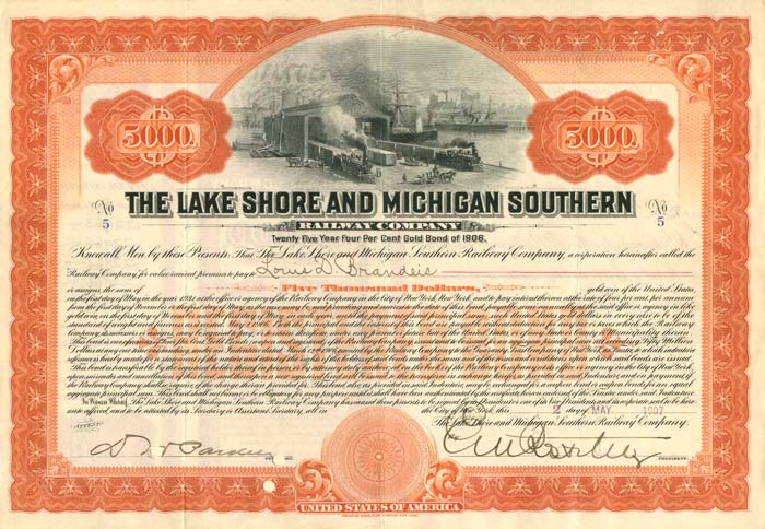 Lake Shore and Michigan Southern Railway Company Issued to Louis D. Brandeis and signed by E.V.W. Rossiter - SOLD