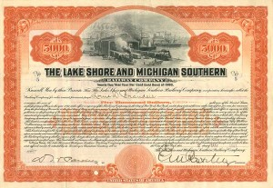 Lake Shore and Michigan Southern Railway Company Issued to Louis D. Brandeis and signed by E.V.W. Rossiter
