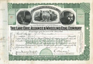 Lake Erie, Alliance & Wheeling Coal signed by James R. Garfield - Stock Certificate