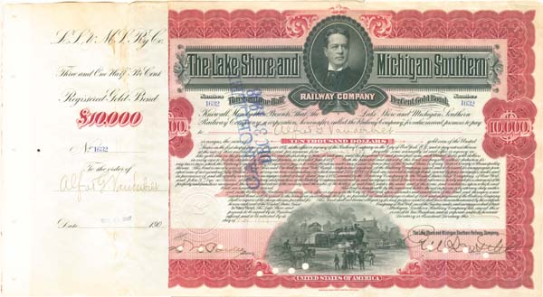 Alfred G. Vanderbilt - Lake Shore & Michigan Southern Railway - Bond